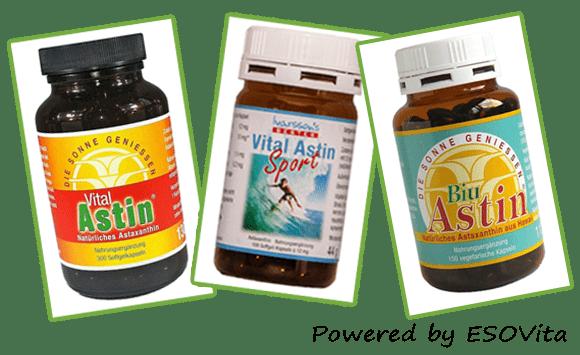 Astaxanthin Produkte VitalAstin mit 4 mg natürlichem Astaxanthin, VitalAstin SPORT ,it 12 mg natürlichem Astaxanthin und BiuAstin vegetarische Kapseln mit 4 mg natürlichem astaxanthin